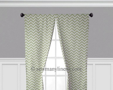 Olive Green Chevron Curtains