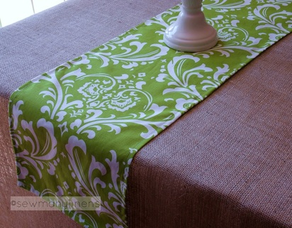 Green FloralTable Runner